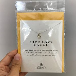 Brand New Silver Dogeared Live Love Laugh Necklace